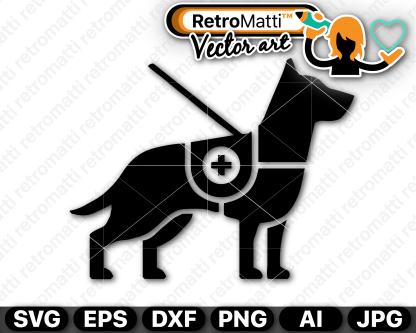 retromatti w part  service dog symbol