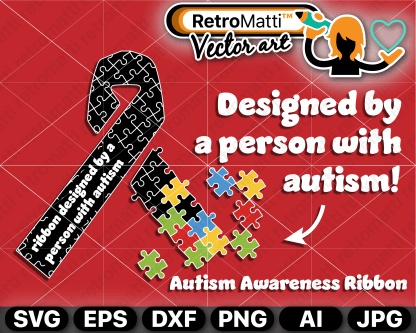 retromatti w part autism awareness ribbon