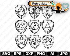 retromatti w part paw patrol  badges