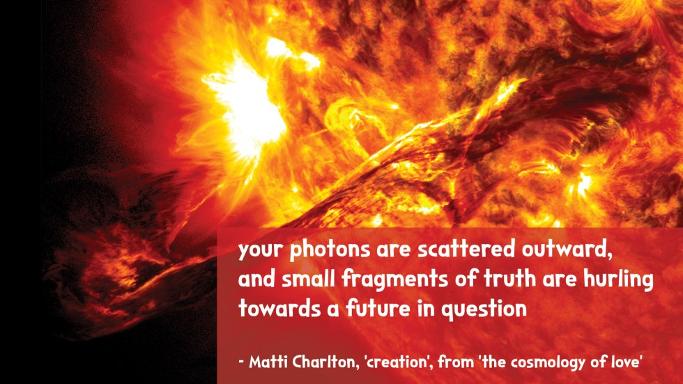 the cosmology of love poetry collection quote by Matti charlton on nasa space image background sun corona
