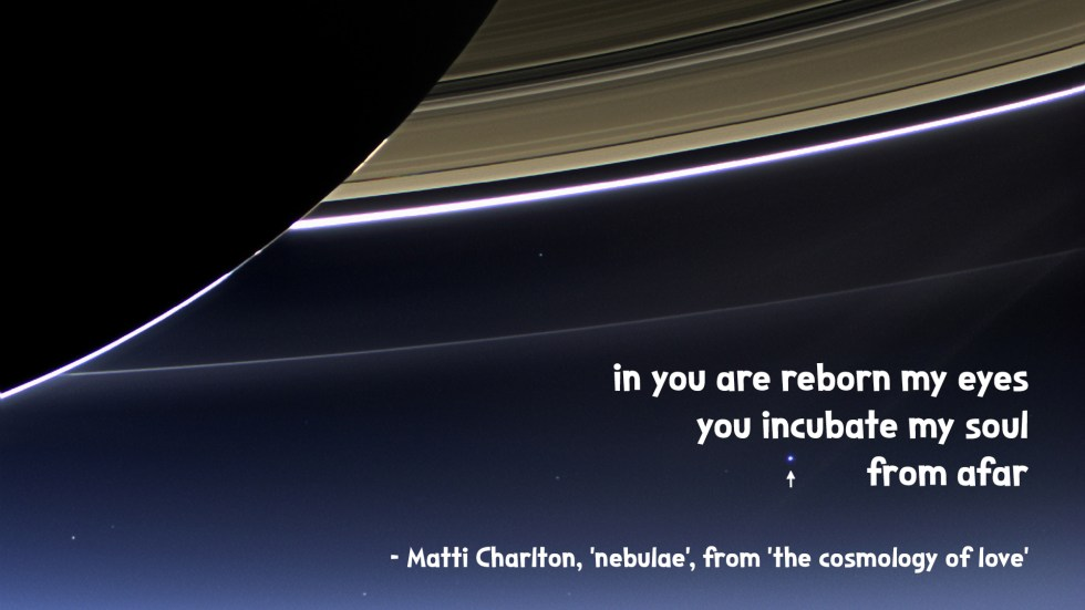 earth from under the rings of Saturn the cosmology of love poetry collection quote by Matti charlton on nasa space image background