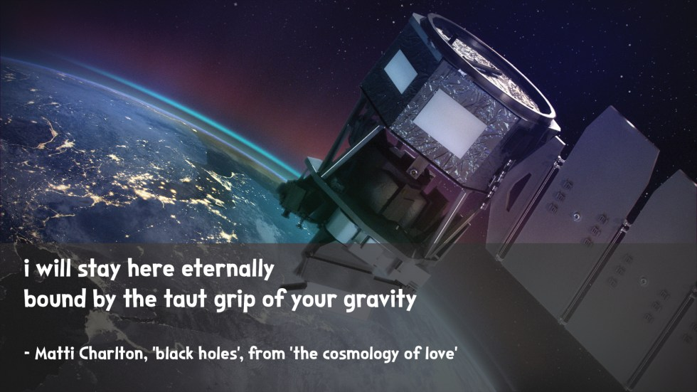 satellite in earth's orbit the cosmology of love poetry collection quote by Matti charlton on nasa space image background