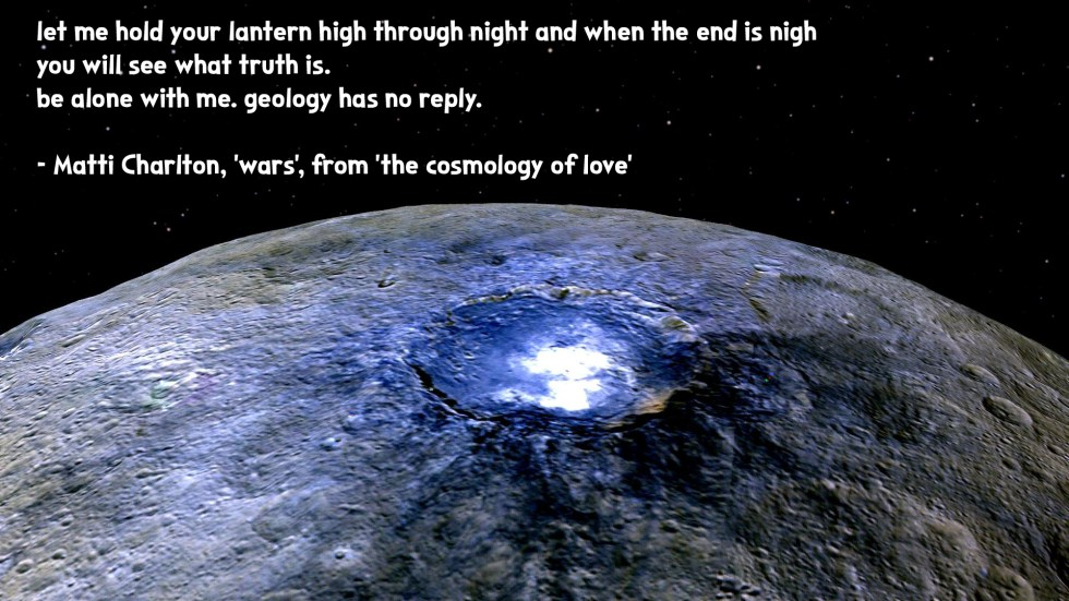 the cosmology of love poetry collection quote by Matti charlton on nasa space image background