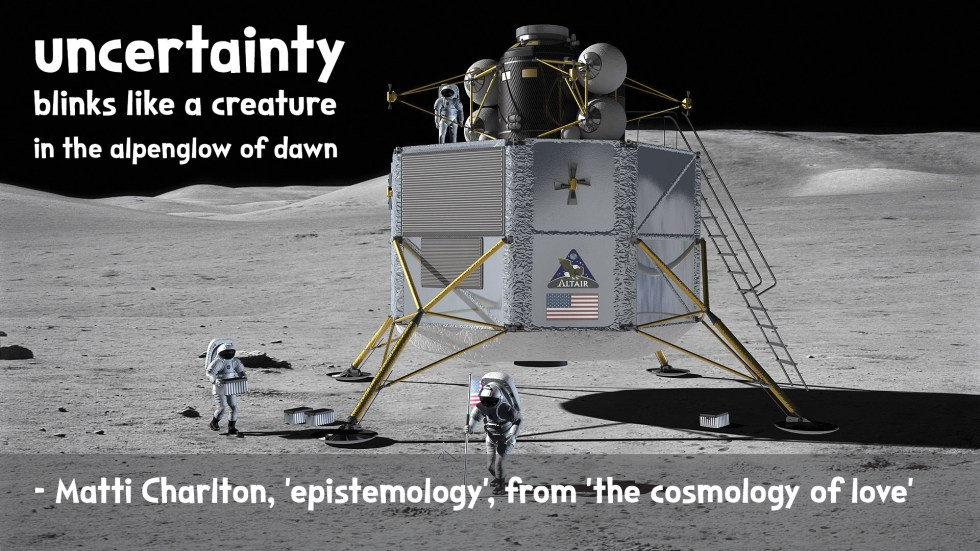 the cosmology of love poetry collection quote by Matti charlton on nasa space image background with moon landing