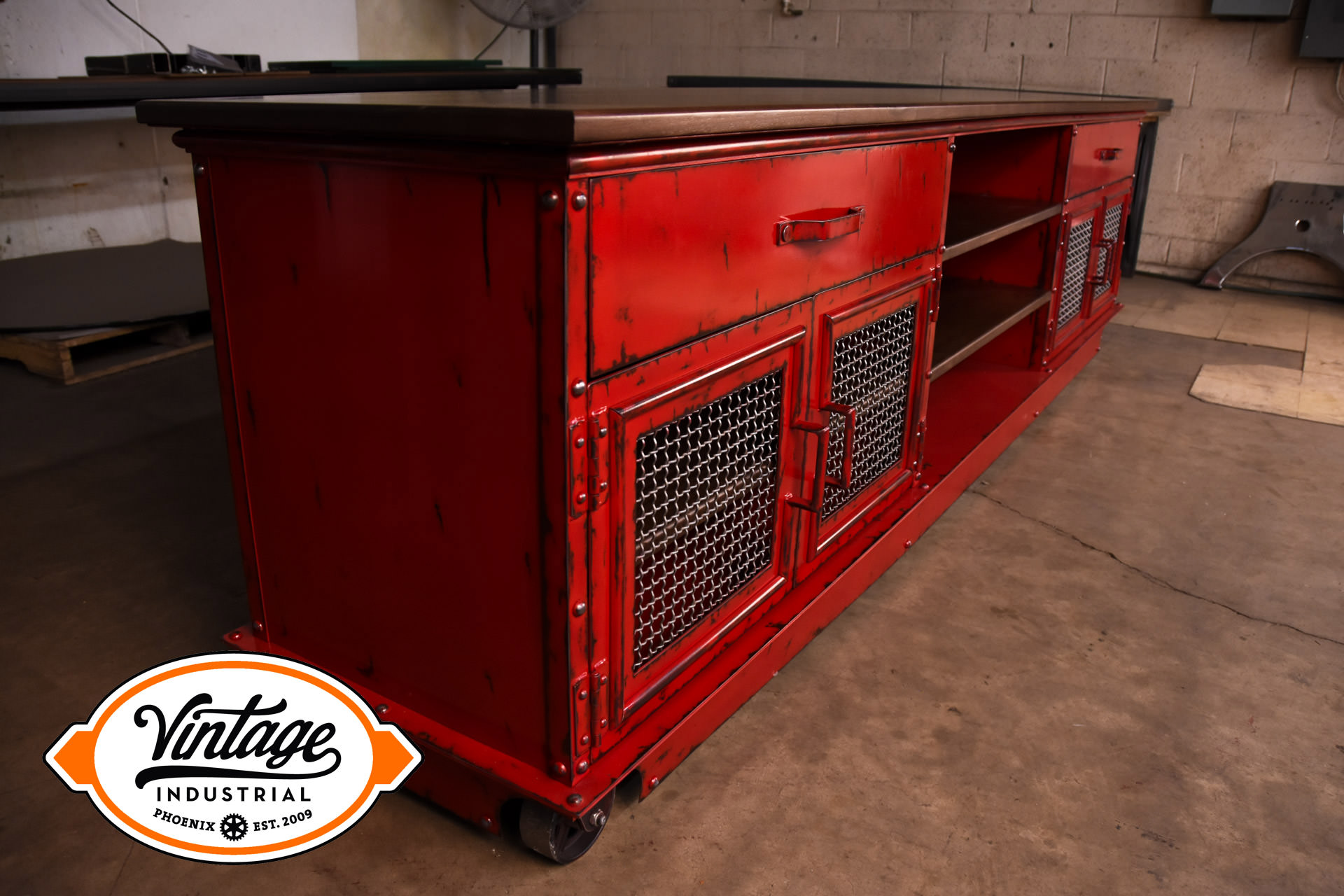 Aged Red Boxcar Ellis Console Model E56 Vintage Industrial Furniture