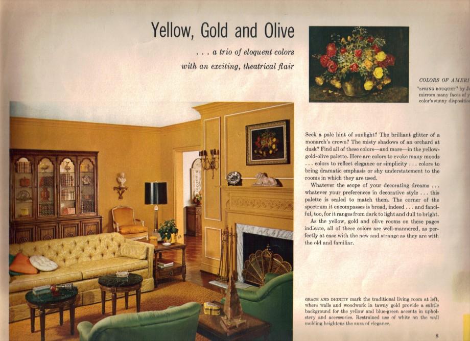 Captivating 1965 Yellow Gold Olive Retro Sofa Living Room Part 32