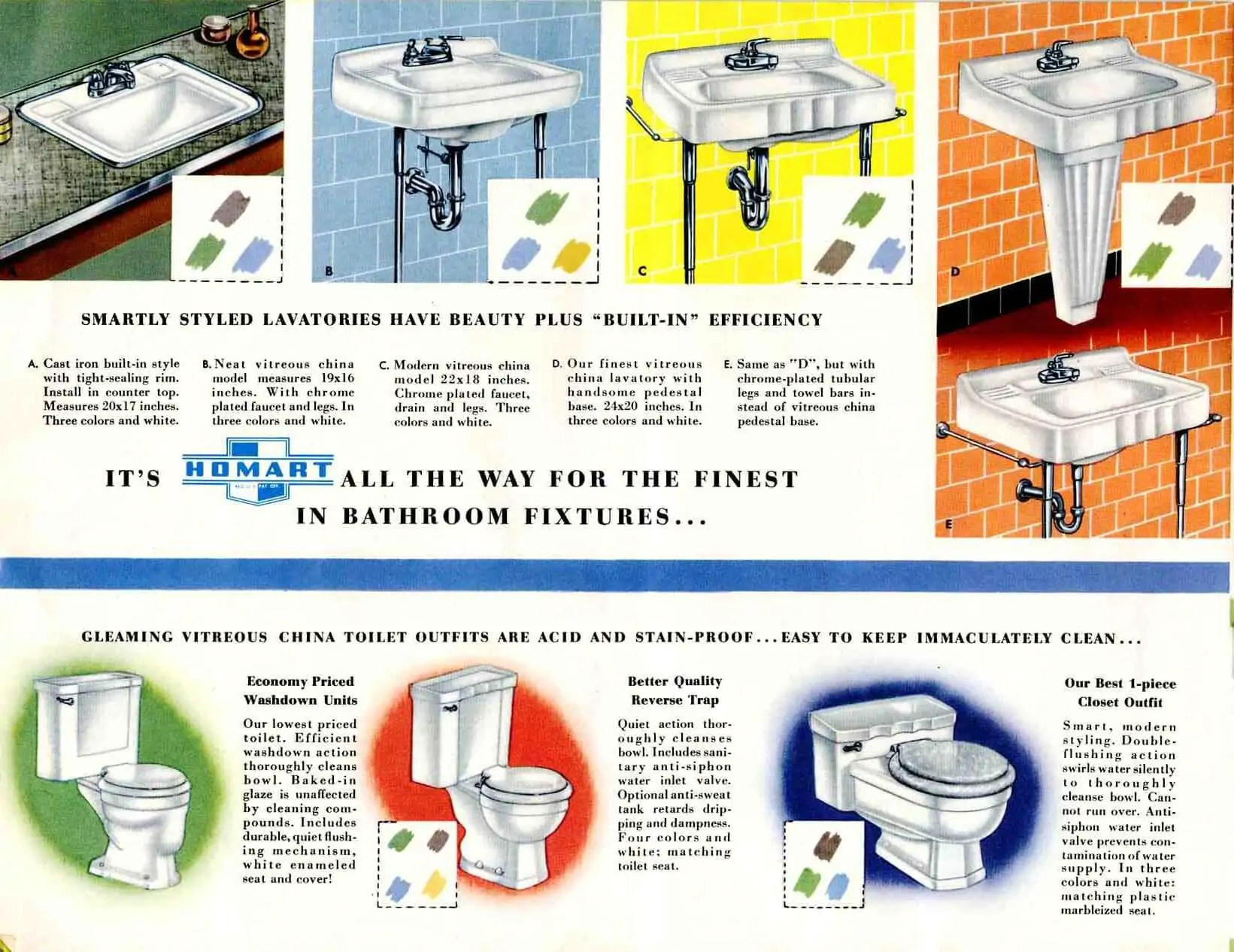 retro bathroom sinks toilets and a