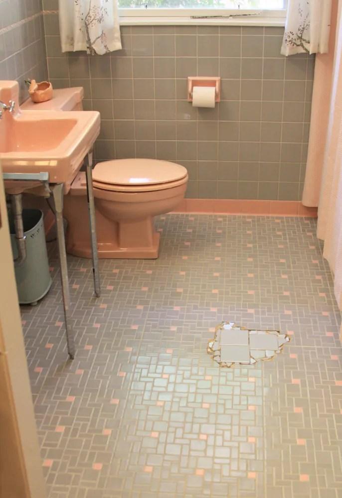 pink and gray bathroom floor
