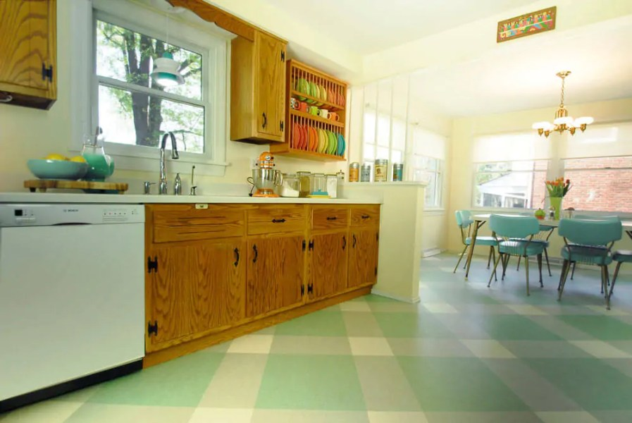 Diana s 10   yes  ten    kitchen floor tile pattern mockups   and     retro aqua kitchen