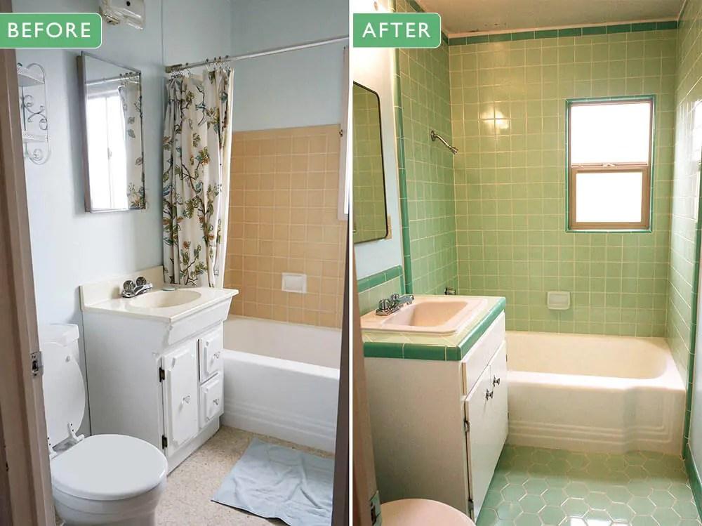 Laura's green B&W Tile bathroom remodel in progress ...