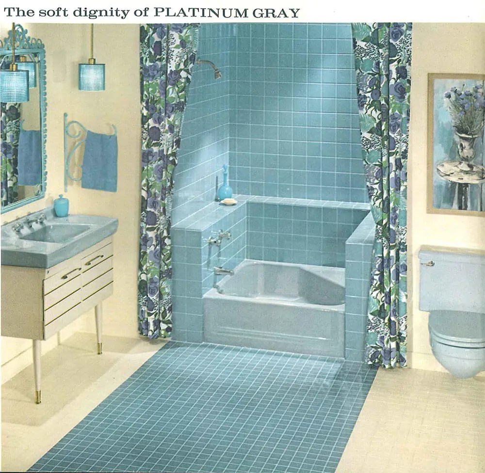 the color gray in vintage bathrooms from 1927 to 1962 - retro