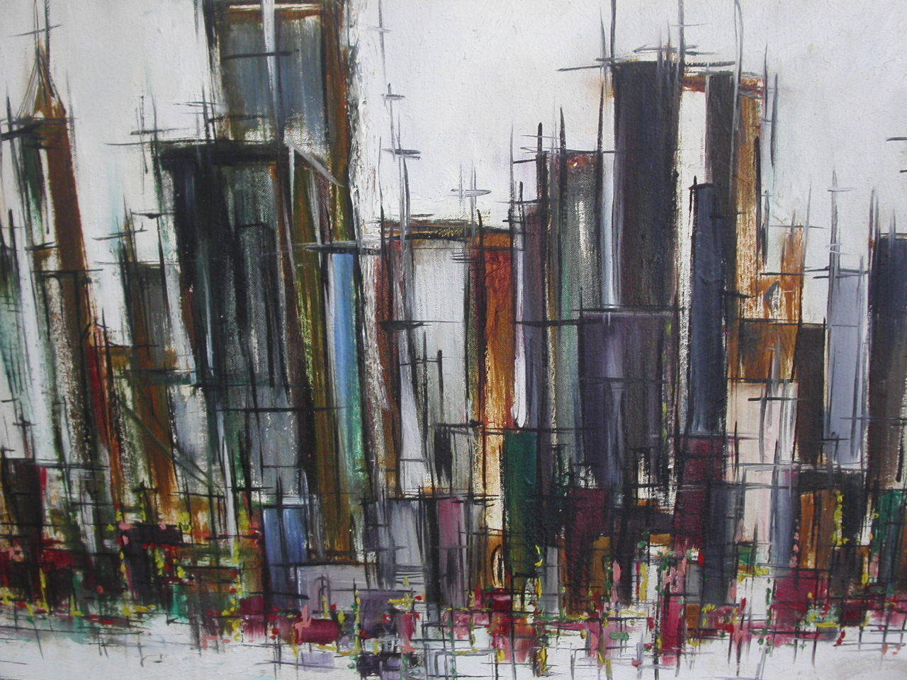 original vintage 60s abstract city scape painting | retro squad
