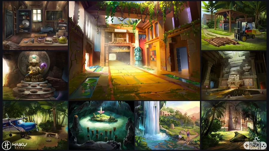 The Hidden Ruins     Adventure Escape Series HOG Artwork   RetroStyle     Exterior and Interior Game Puzzle Backgrounds
