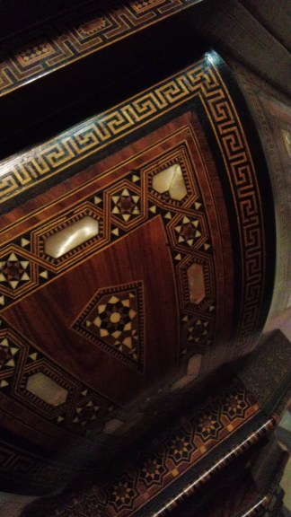 From Damascus, the wooden pulpit is designed with very intricate inlay