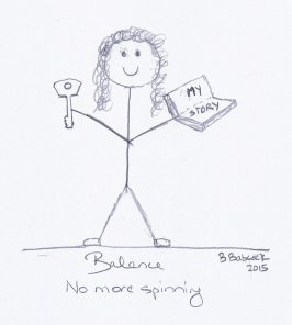 Picture of a woman standing, smiling, and holding a book which is titled 'My Story' in one hand and a key in the other. The point here when your chronic illness feeling like a vicious circle, the key lies in your story. Drawn by B Babcock 2015.