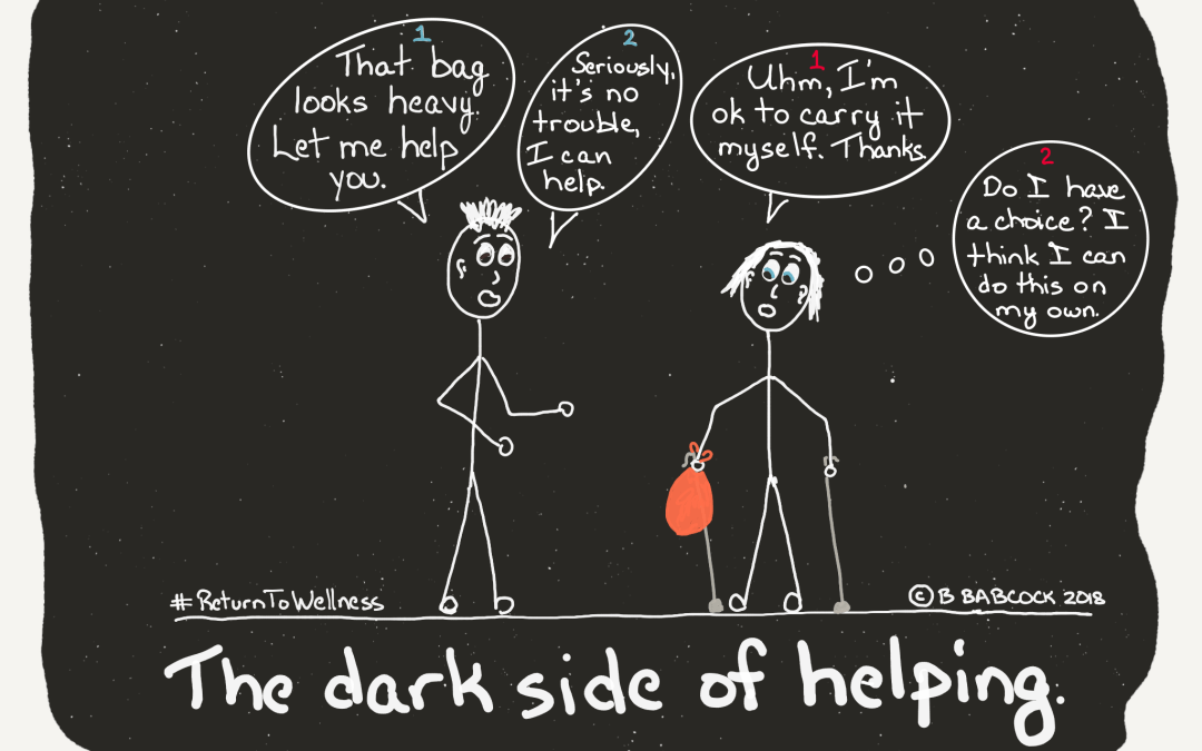 Pic of man insisting on helping a person who uses is sticks and is carrying a bag, the dark side of helping
