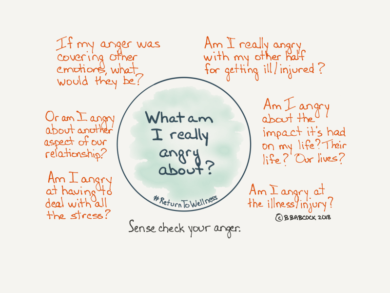 Picture of questions to help you sense check your anger when being a carer.