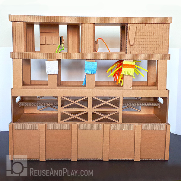 Toy Car Garage Cardboard Storage Printable Pdf Pattern Diy Tutorial