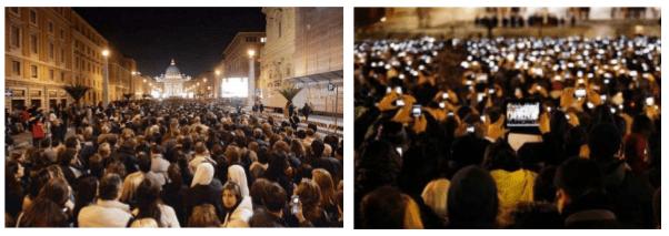 Place Saint PIerre à Rome, Histoire du portable, sa diffusion.
