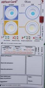 Transfusion, EFS, carte contrôle ultime, vérification concordance groupes sanguins, AB test card, infirmier, médecin, sage femme