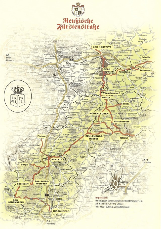 Lage und Verlauf der ♔ Reußische Fürstenstraße