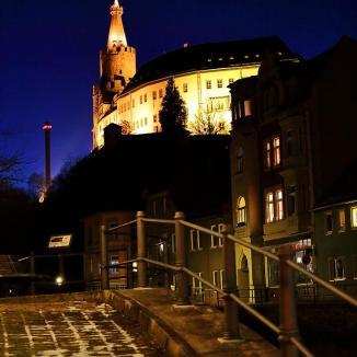 Osterburg Weida bei Nacht