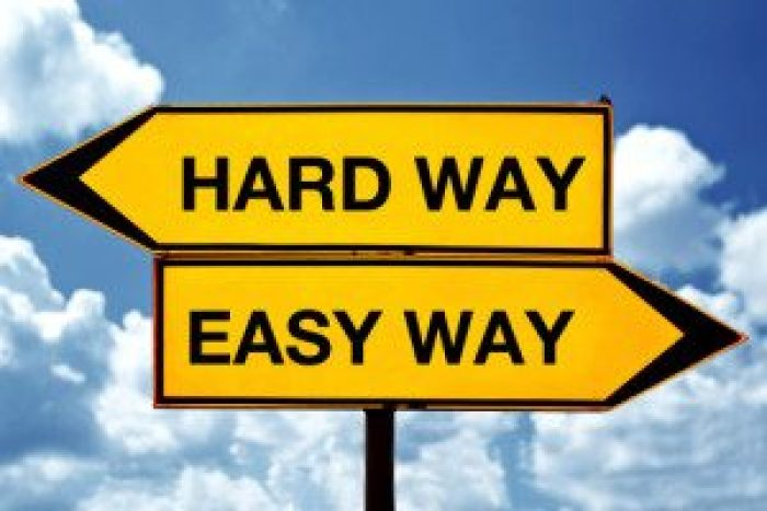 Hard or easy way, opposite signs