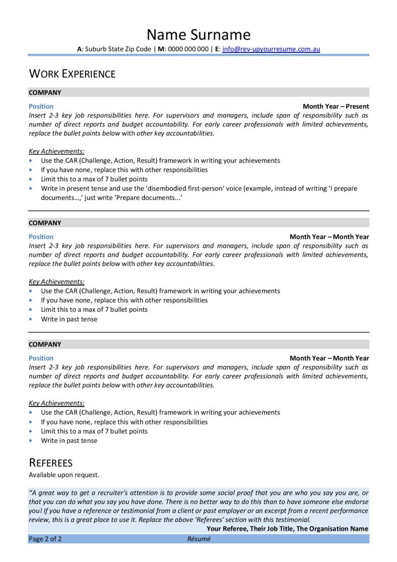 Free Australian Resume Template Rev Up Your Resume