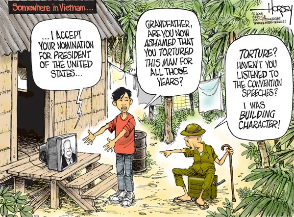 The WASP Americans were also building character. Of the Native Americans, African-Americans, Chinese, Germans, 'Eye-Talians', Irish, 'Polacks', Jews, and others. Can their decency be doubted? (Cartoon by David Horsey; September 2008; source and courtesy - http://revart.blogs.com). Click for larger image.