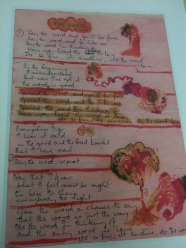 """Here is the original lyric sheet of """"The Word,"""" written and illustrated by John and Paul. It's found at Northwestern University's Deering Library."""