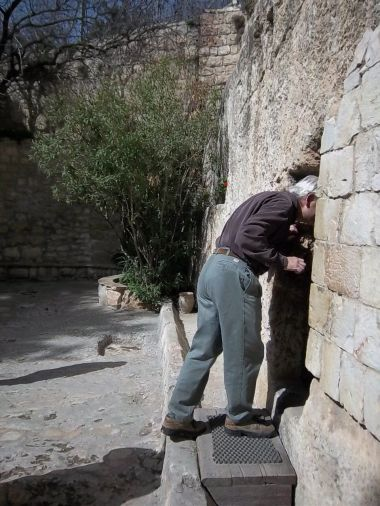 "This picture, taken during my trip to the Holy Land in 2011, reminds me of Peter's ""stooping and looking in"" in Luke 24:12."