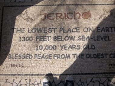 You can see the front edge of my sneakers in this photo from Jericho, the setting for Sunday's scripture.