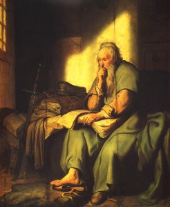 """""""St. Paul in Prison"""" by Rembrandt."""
