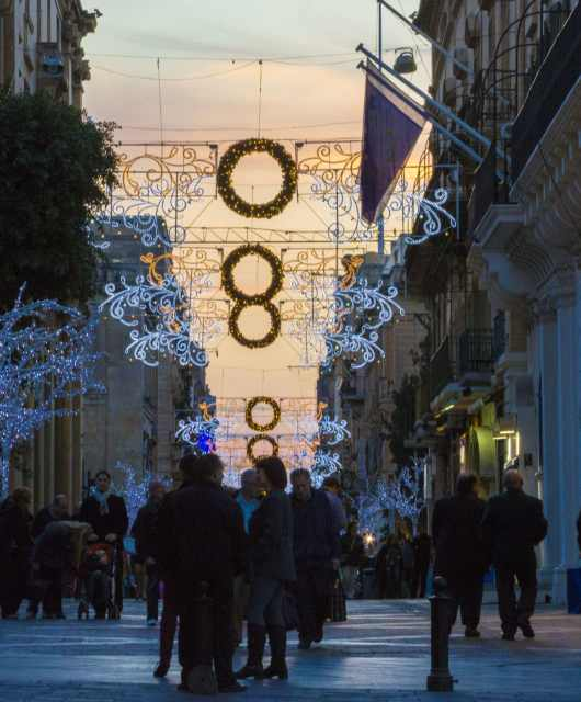 Christmas decorations in Valletta