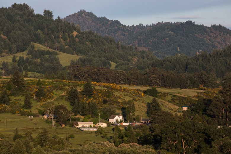 The town of Petrolia, Calif., sits beneath the King Range mountains at the edge of Humboldt County. With a population of about 400, it has one general store, one bar, no cellphone service and no police.