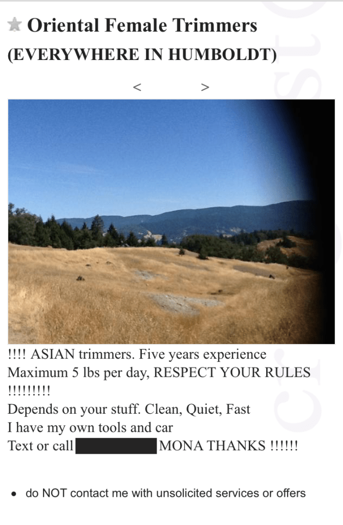 """A Craigslist ad offers """"Oriental female trimmers"""" in Humboldt County."""