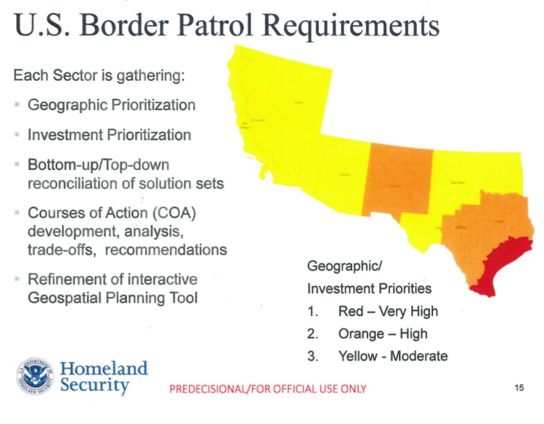 A page from a Customs and Border Protection briefing to the Senate homeland security committee, released by the committee's Democrats.