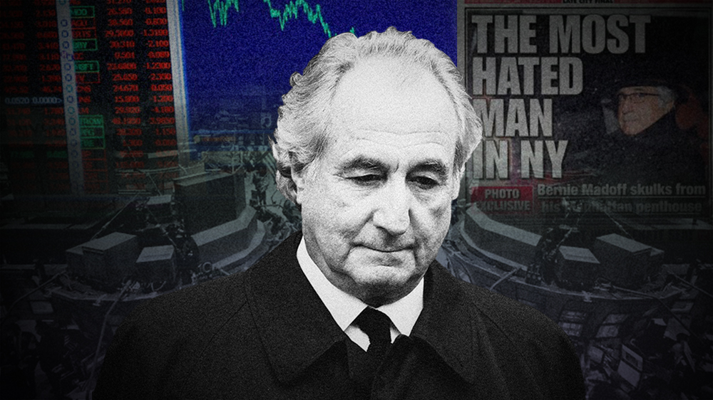 A photo collage shows a black and white photograph of Bernie Madoff looking down. Behind him are headlines about his ponzi scheme.