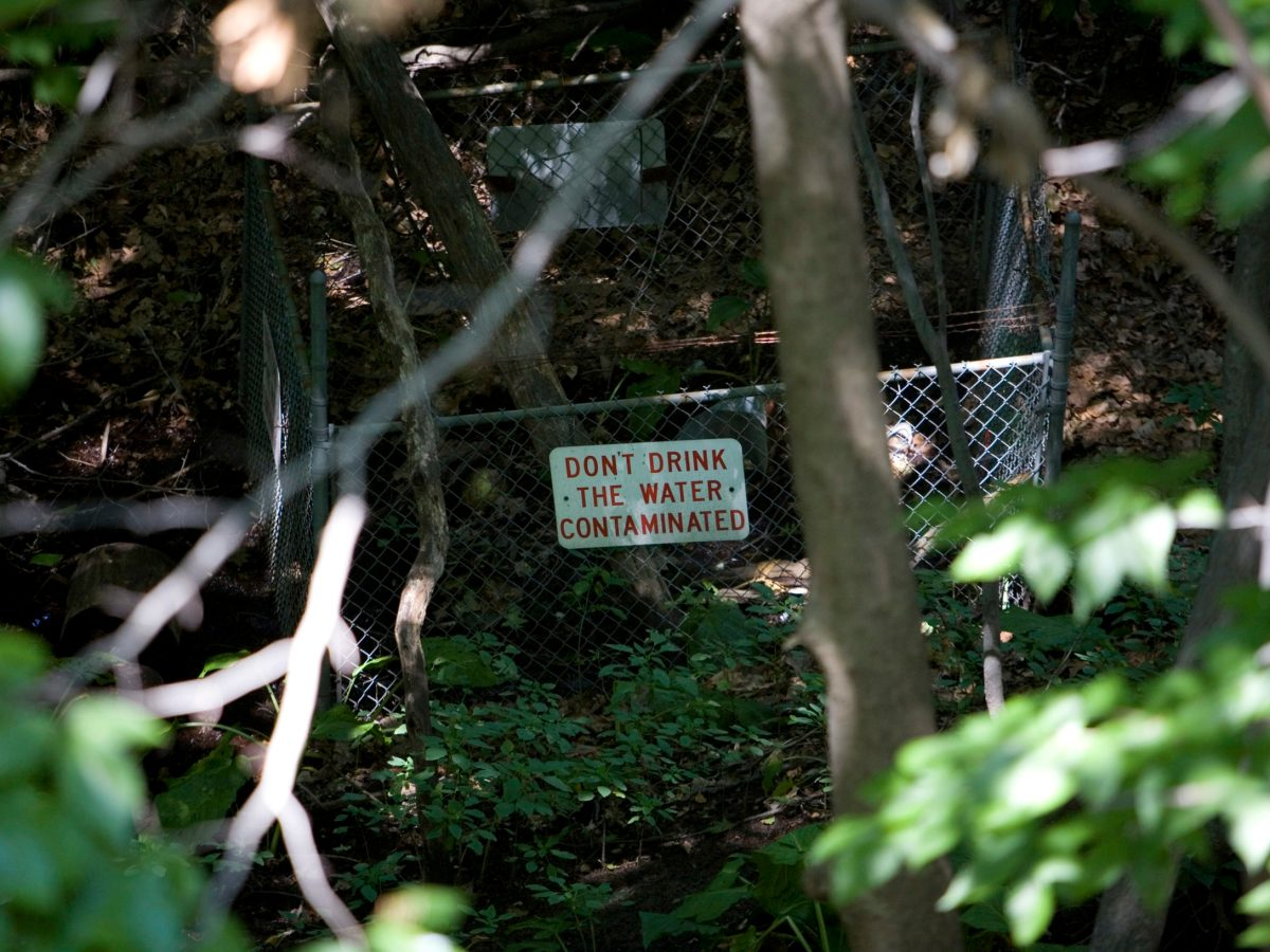 "A sign next to a creek in the woods warns ""Don't drink the water"""