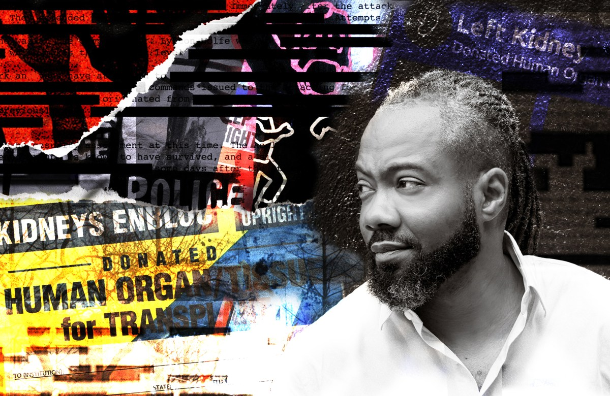 A photo collage places a black and white portrait of Reveal podcast host Al Letson over an array of images that look like ripped paper, with various pieces of partial text and images on them.