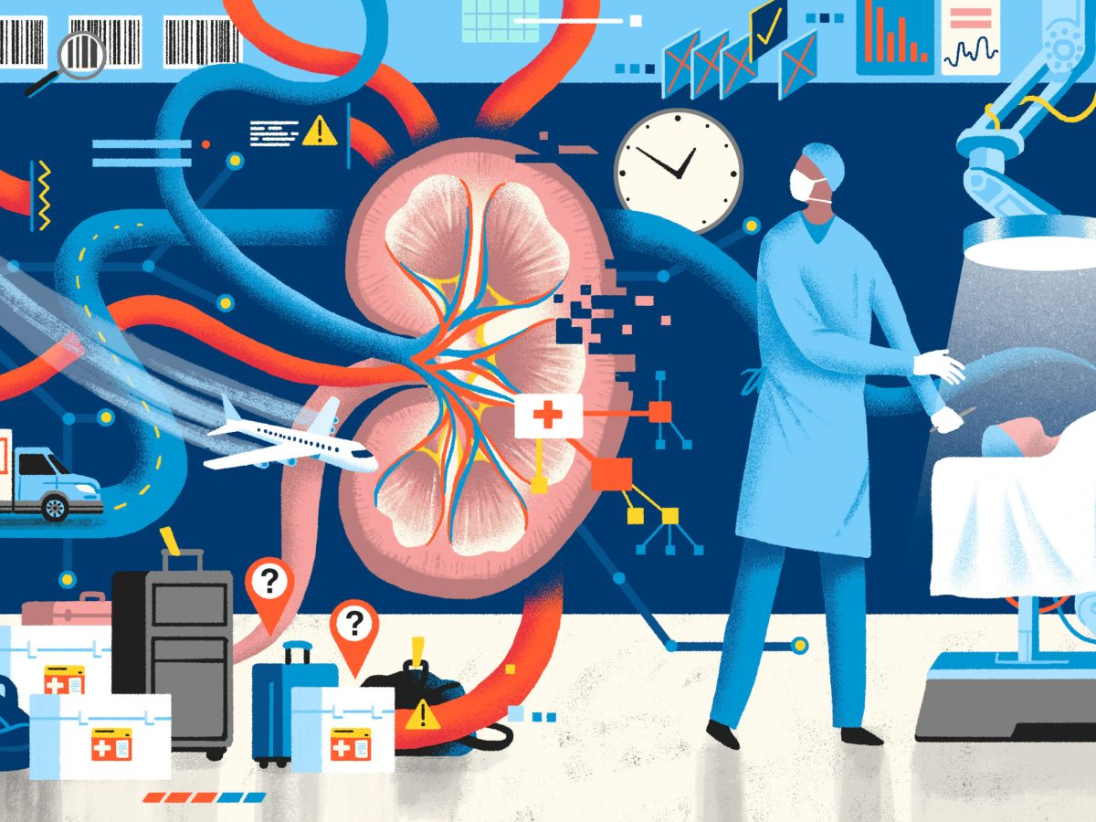 An illustration in shades of blue, red, and white combines images of a kidney, a plane flying, a doctor, a patient, and coolers marked with question marks.