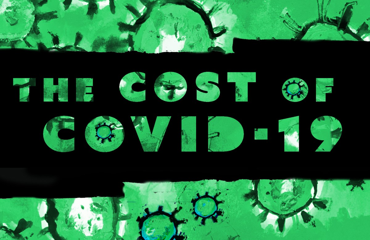 A green painting evoking Coronavirus cells is behind text that says The Cost of COVID-19