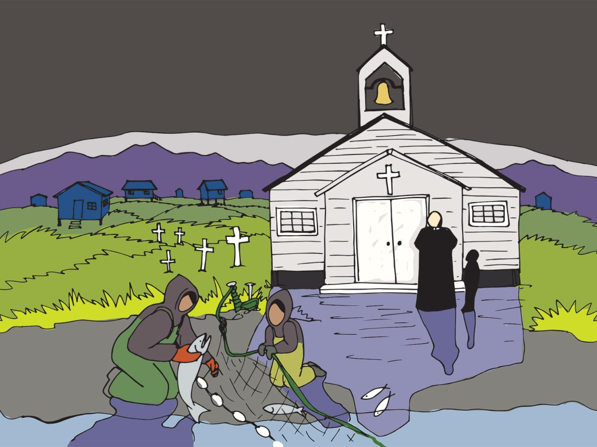 An illustration shows a gray sky above a white Catholic church in the middle of an Alaskan landscape, colored with purple and green. A priest stands outside the door and watches the scene in front of him, as two people pull in a net of fish from the ocean.