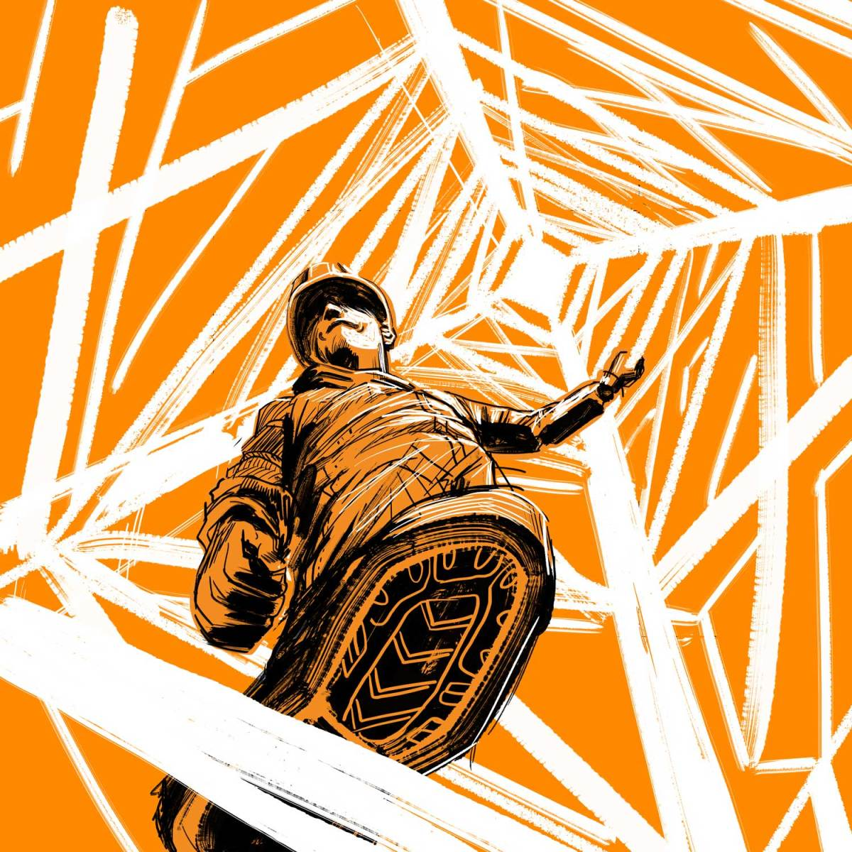 An illustration shows a worker standing on an abstract tower, wearing a helmet and uniform, against an orange background.