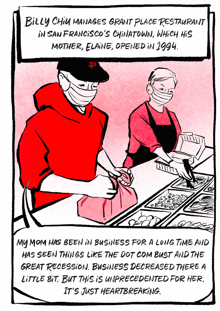 Billy standing next to his mom at the restaurant's long counter, both of them packing up take-out orders. He is a young guy wearing a hoodie and baseball hat. Narration: Billy Chiu manages Grant Place Restaurant in San Francisco's Chinatown, which his mother, Elaine, opened in 1994.