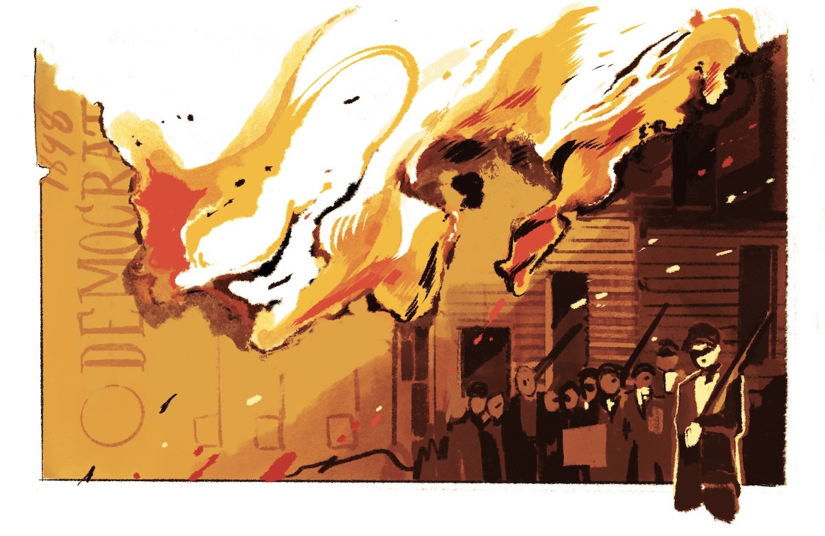 An illustration depicts a ballot on fire, which morphs into a building. A group of white men with guns stand outside the burning building.