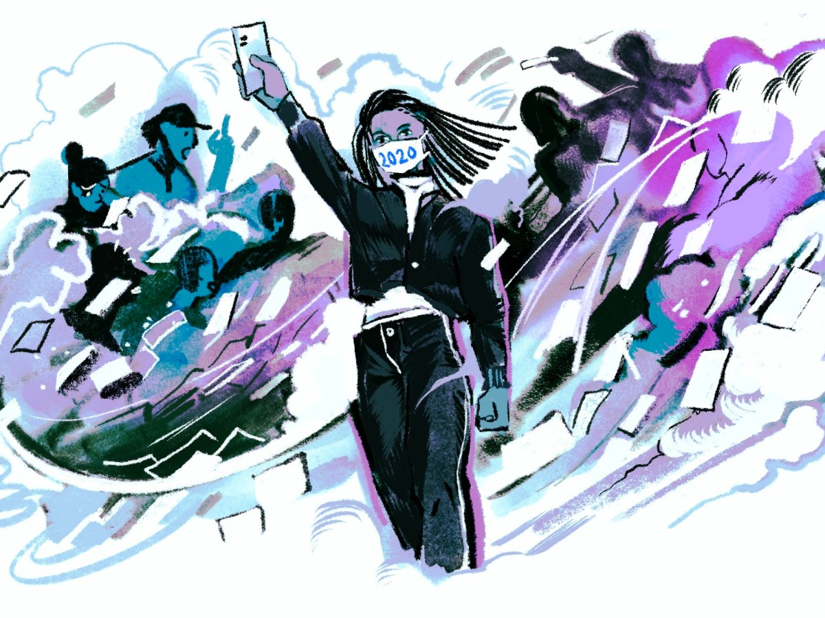 An illustration shows a woman with a facemask reading 2020 holding up her ballot. Behind her, in a blue and purple swirl of colors, are ballots, voters, and other figures.