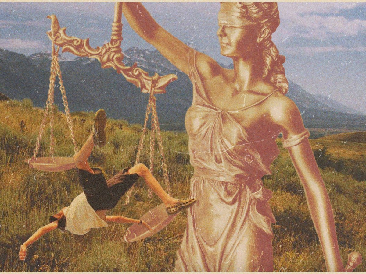 A collage illustration shows lady justice holding up scales in front of a Wyoming wilderness background. A teenager falls off the scales.