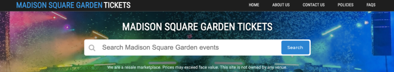 Homepages for resale ticket websites madisonsquare.garden-ny.org, ticketsmeters.com and FooFightersTour.com.