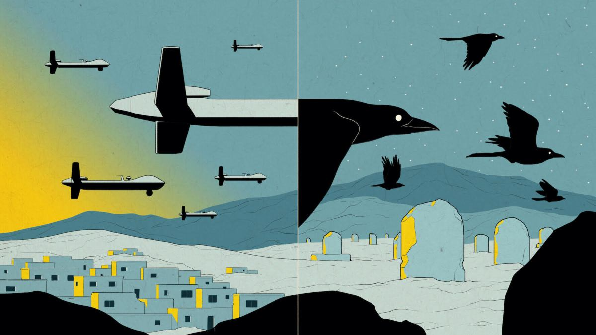 An illustration in shades of blue and yellow shows drones turning into birds over a small town.